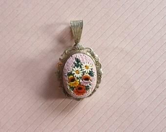 Vintage Mosaic Silver Pendant