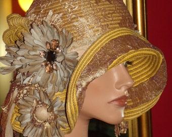 Flapper Hat Cloche 20 s Theme   Headdress   Millinery ArtWork