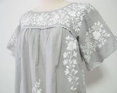 Mexican Embroidered Blouse Split Sleeve Cotton Top In Gray, Boho Blouse, Hippie Top