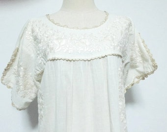 Embroidered Mexican Dress Cotton Tunic, Boho Dress