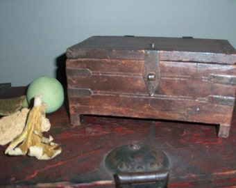 Antique Wooden Box Handmade India Dark Jewelry Trinket