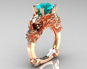 Love and Sorrow 14K Rose Gold 3.0 Ct Paraiba Tourmaline Skull and Rose Solitaire Engagement Ring R713-14KRGPTU