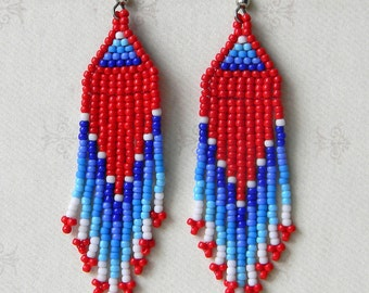 Beaded Earrings, Seed Bead Earrings, Long Dangle Earrings, Red and Blue earrings, Fringe Earrings, Ethnic Jewelry, Boho Earrings, Hippie