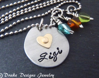 Gigi jewelry birthstone necklace grandma gift personalized grandmother gifts Mother's Day