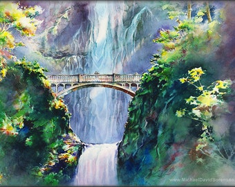 Afternoon at Multnomah Falls - Watercolor Painting Print by Michael David Sorensen. Columbia River Gorge, Oregon Pacific Northwest Waterfall