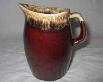 """4.5"""" Hull Brown Drip Creamer / Small Pitcher, Vintage 1960s"""