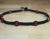 Black Choker Bronze Glass Beads - Black Hemp Choker Necklace - Womens Choker Tween Gift for Teen Jewelry for Boys Necklace for Kids Jewelry