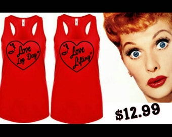 Red or Black Love Lucy workout tanks, 2 options - Love lifting, Love Leg Day