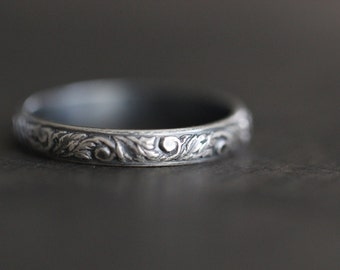 MOLLY:  Botanical Ring, Sterling Silver, Stacking Ring, Vines, Floral, Patina, Rustic, Delicate, Dainty, Wedding Band