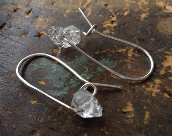 Someday . TINY Herkimer Diamond earrings . Sterling Silver earrings . minimalist jewelry . Herkimer diamond earrings . boho . Modern