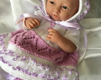 """Hand knitted dolls clothes for 15"""" La Newborn Berenguer doll or simliar."""