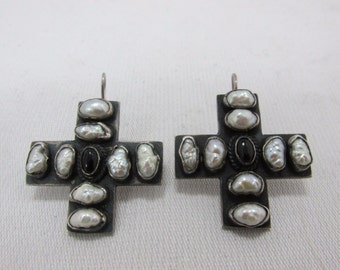 Alejandro Toussier Earrings - Sterling Silver Coss, Baroque Pearl, Onyx - Signed - Vintage - Stunning!