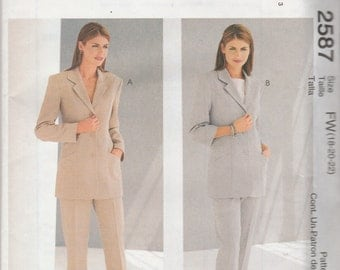 McCall's 2587 size 8-10-12 or 18-20-22 Lined Jacket, Top and Pants Sewing Pattern 2000 UnCut