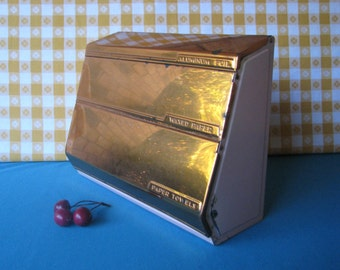 Lincoln Beauty Ware 3 Roll Paper Dispenser - Pink Copper - Typographic - Vintage 1950's