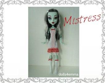 "Monster High 17"" Doll Clothes - Sexy MISTRESS Dress + Socks - Handmade custom fashion by dolls4emma"