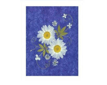 Pressed Flower Cards - set of 6 notecards - Daisies #015