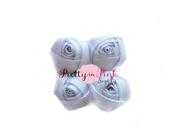 "SPARKLE Light Silver Rolled Rosettes...You Choose Quantity...Rolled Rosettes...Mini Rolled Rosettes...1.5"" Rosettes"