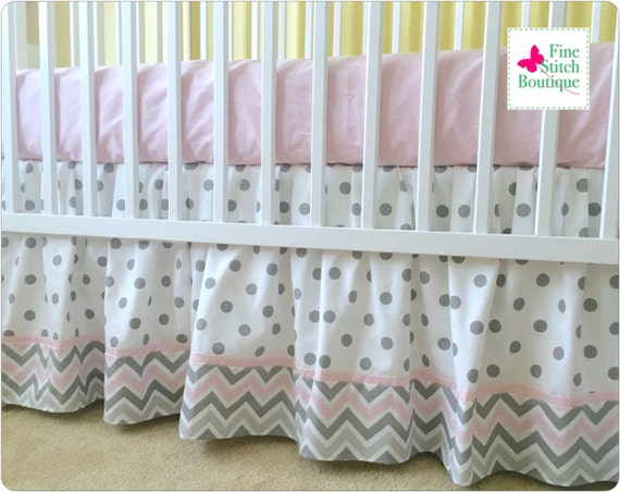 Pink Amp Gray Chevron And Gray Dots GATHERED CRIB SKIRT