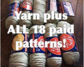 Special vintage yarn and patterns combo sale - DIY mixed yarn pack mix Crochet or knitting yarn plus email of ALL 18 of my paid patterns