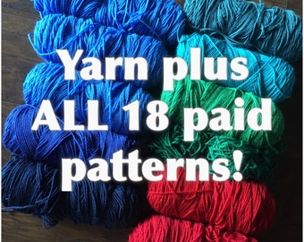 Special yarn and patterns combo sale - DIY mixed yarn pack mix Crochet or knitting yarn plus email of ALL of my paid patterns