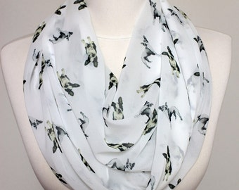 Boston Terrier Dog Pattern Regular Scarf Dog Scarf Scarves, Gift ideas for her Spring - Summer - Fall - Winter Scarf