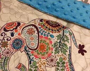 "Boho elephant baby lovey blanket 15""x 18"""