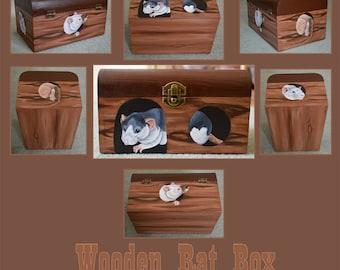 Wooden Rat Hut Designed Hand Painted Box