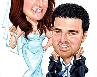 Custom couples caricature from your photos