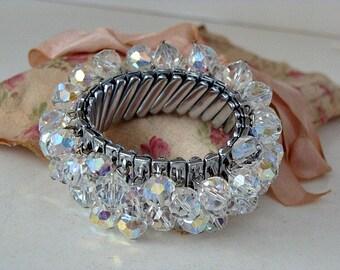 1950s Aurora Borealis Cha Cha Expandable Bracelet Marked: JAPAN