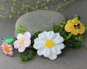 Handmade Lampwork Beads - Set of 14 Glass Beads, Lampwork Glass Beads, Floral Lampwork Beads, Lampwork Flower Beads, Glass Flower, Focal