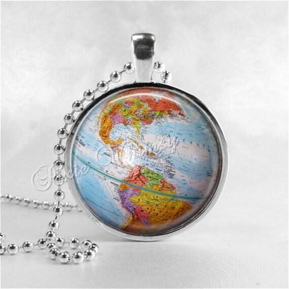 Vintage globe necklace vintage globe pendant vintage world like this item gumiabroncs Gallery