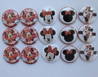 Minnie Mouse red 1 inch flat back, pin backs, hollow back buttons and bottle caps- set of 15 scrapbooking, crafts, hair bow centers