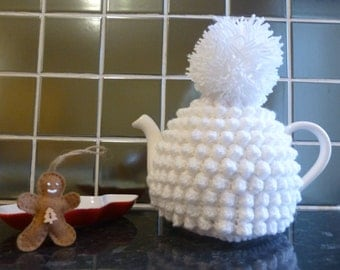 Hand crocheted snowball / snowflake Christmas tea cosy / cozy