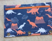 Dinosaurs and volcanoes - pencil case with grommets for three ring binder