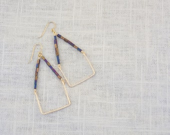 Beaded & Hammered Wire Earrings