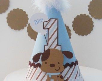 LAST OF DESIGN* Lil' Puppy Dog Party Hat - Blue and Brown - Striped - Personalized
