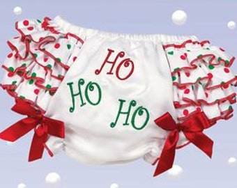 Girls Holiday Diaper Cover - Ho Ho Ho Diaper Cover