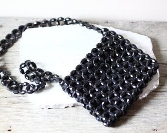 1970s black beaded purse  // cross body purse // vintage purse