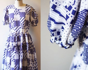 1960s square dance dress // 1950s blue and white dress // vintage dancing dress
