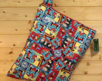 Cloth Diaper Wetbag, Superman, Diaper Pail Liner, Diaper Bag, Day Care Size, Holds 12 Diapers, Size Large with Handle  #L72