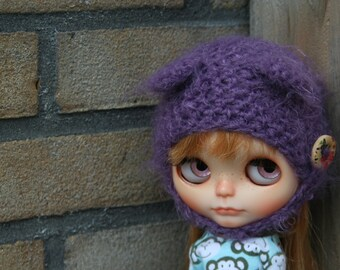 Blythe hat with ears...Fluffy bear