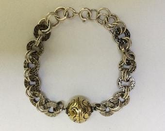 Sterling Silver Hammered Round Link Bracelet