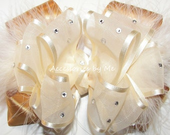 Pageant Hair Bow, Girls Ivory Gold Hairbow, Sheer Satin Marabou Clip, Embellished Rhinestone, Wedding Birthday Party Hairbows Barrette Clips