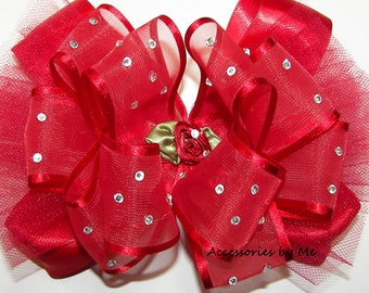 "Red Pageant Bow, High Glitz Tutu Hair Clip, Red 4"" Ribbon Embellished Hair Band, Flower Girl Wedding Tulle Bow Barrette, Birthday Party Bows"