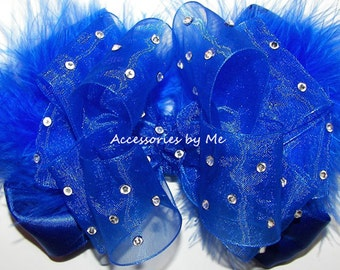 Glitz Pageant Bow, Royal Blue Hair Clip, Blue Organza Satin Marabou Feathers Bow Barrettes, 4 Inch Royal Blue Pageant Bows, Girls Blue Bows