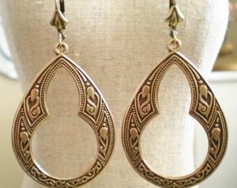 Large Gothic Style Antique Brass Etched Design Dangle Earrings Victorian Vintage Renaissance Long Trendy