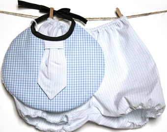 Bloomer & bib for boy 3-12 months Grey and white