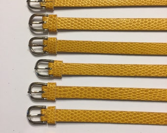 5 or 10 mustard yellow 8mm slider bracelet bands made of PU leather