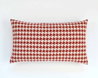 "Red Houndstooth Lumbar Pillow Cover - Red and Ivory - 12"" x 20"" - Decorative Pillow, Pillow Cover, Red, Houndstooth Pillow"