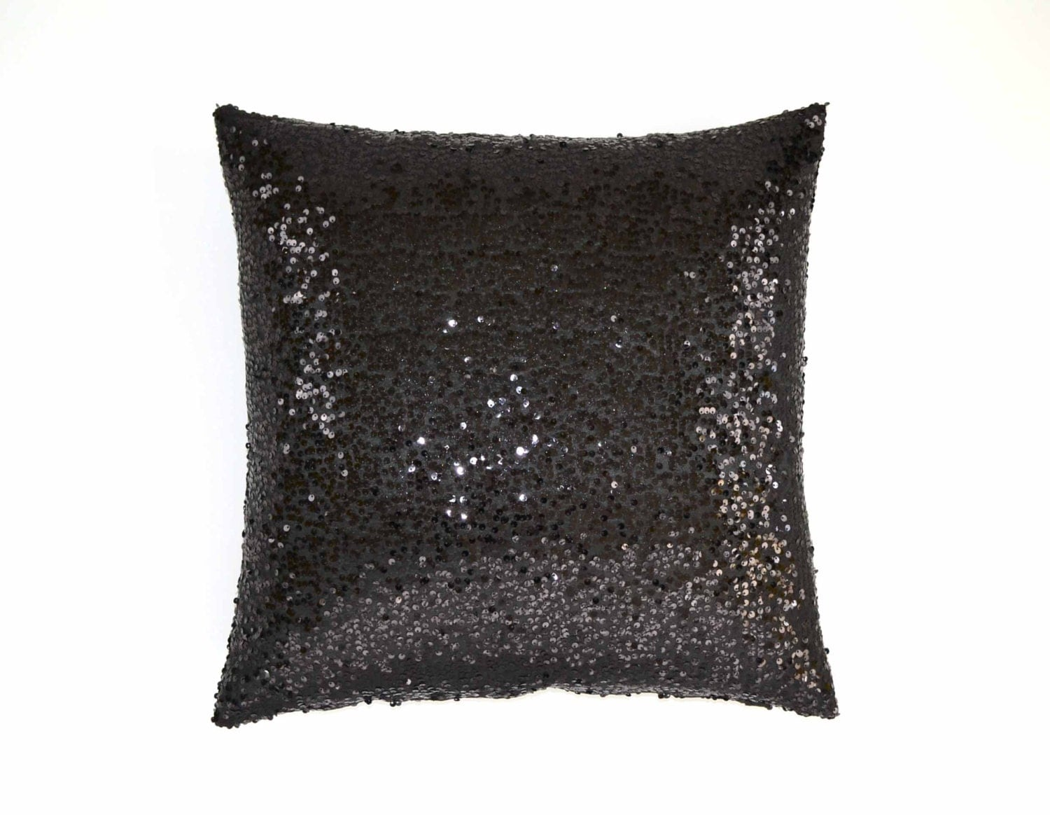 Black Sparkle Throw Pillow : 20 x 20 - Sequin Pillow Cover - Black Taffeta - Decorative Pillow, Throw Pillow, Sparkle Pillow ...